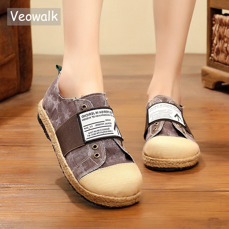 Veowalk Handmade Women Distressed Canvas Espadrilles Flats Harajuku Street Style Ladies Casual Slip on Denim Print Loafer Shoes Veowalk Handmade Women Distressed Canvas Espadrilles Flats Harajuku Street Style Ladies Casual Slip on Denim Print Loafer Shoes
