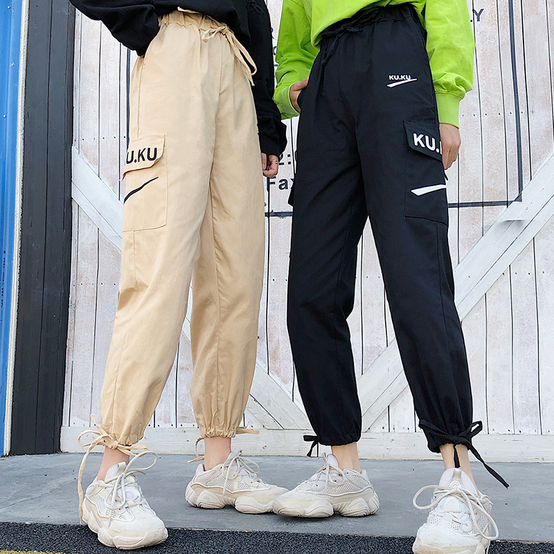 Image 2 - Pants Women High Quality Cargo Ankle Length Trousers Soft Harajuku Korean Style Womens Trendy Solid Pockets Casual All match New-in Pants & Capris from Women's Clothing