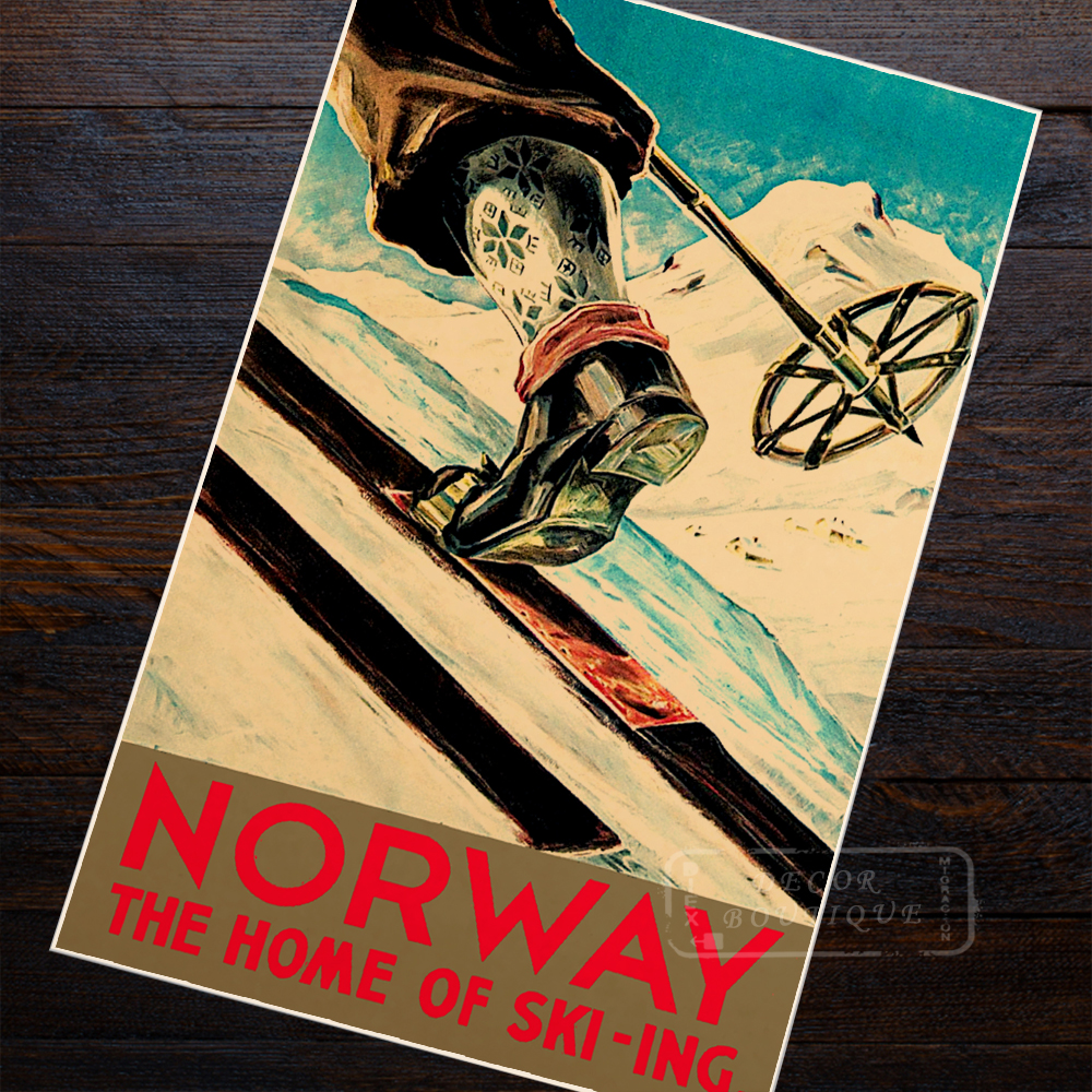 Ski in Norway Skiing Travel Vintage Retro Canvas Painting Poster DIY ...