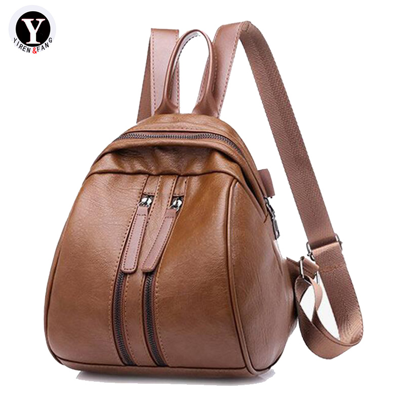 Yirenfang Women Backpack Small Pu Vintage Retro Fashion School Bags For Teenagers Student Girl Famous Brand New Women Backpack