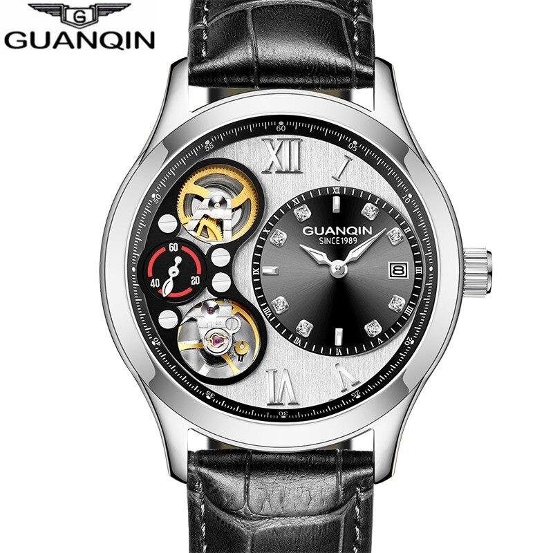 GUANQIN Relogio masculino 2018 montre hommes d'affaires Mécanique horloge top marque de luxe Automatique étanche or Erkek kol saati