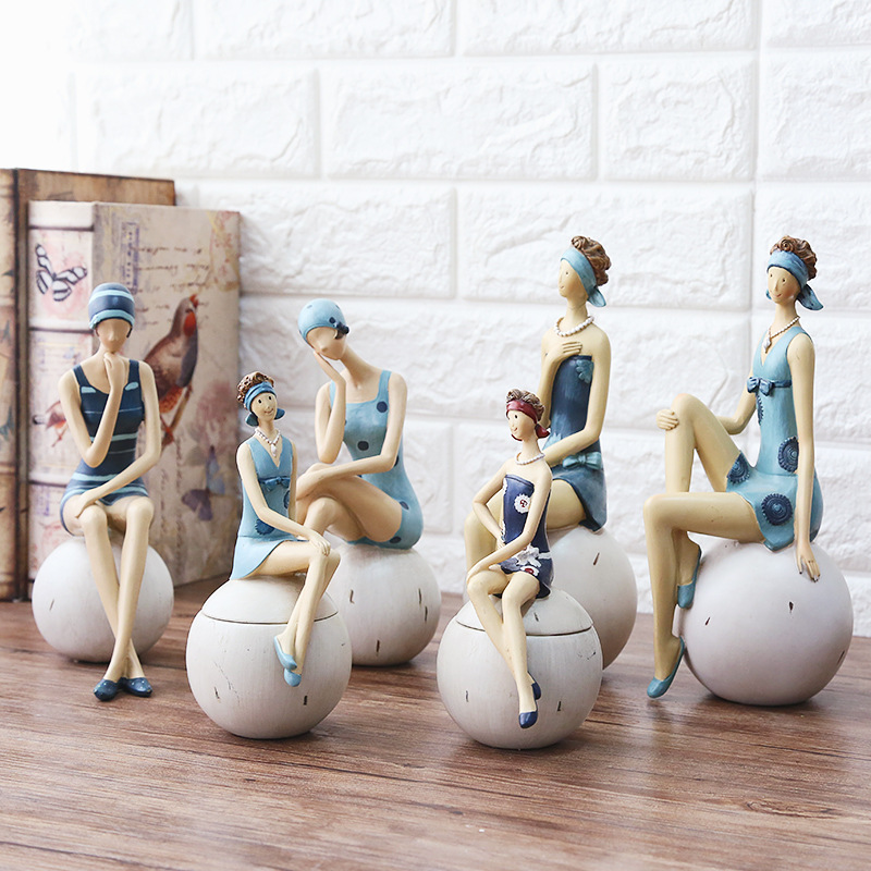 2017 New Style Swimsuit Woman Beauty Ornaments Wholesale Crafts Creative Home Furnishing Resin Figure Decorations Gifts