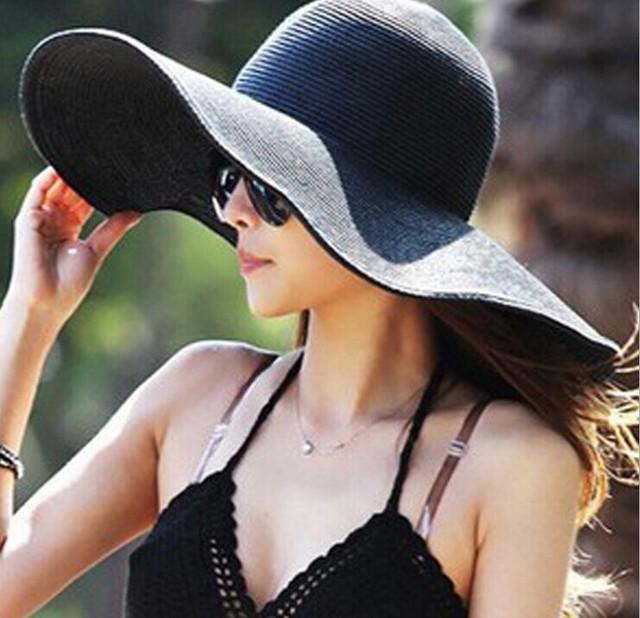 Hot 2015 fashionable woman folding wide big hat Eaves floppy disk summer  sun hat Sun beach hat free shipping 8b0e4a532b7