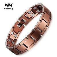 WelMag Healing Magnetic Bracelet Vintage Copper 2 Row Magnet Bio Energy Healthy Bangles For Men Women