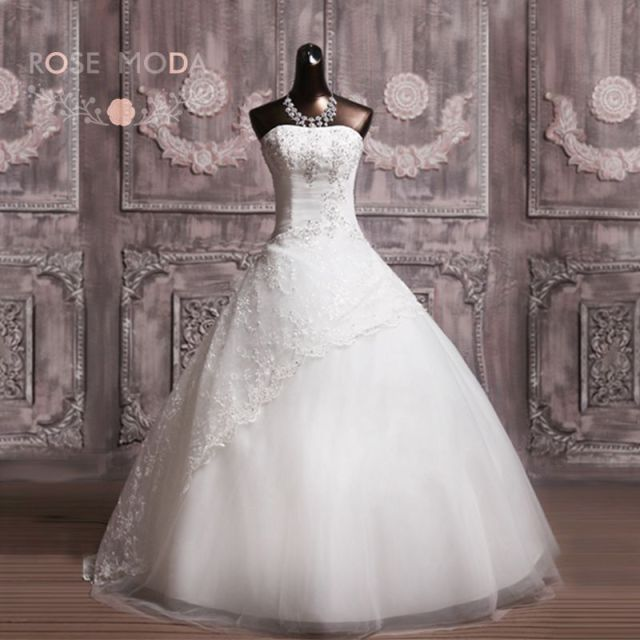 8c0e1176aaaf9 Strapless Full A Line Wedding Dress No Train Sequined Tulle Debutante Dress  Vestidos de Noiva Real Photos