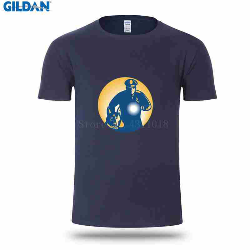 62e29f0c Funny Casual T Shirt For Men Hiphop Round Collar Security Guard Policeman  Police Dog Tshirt Sunlight Unique Camisa Short Sleeve