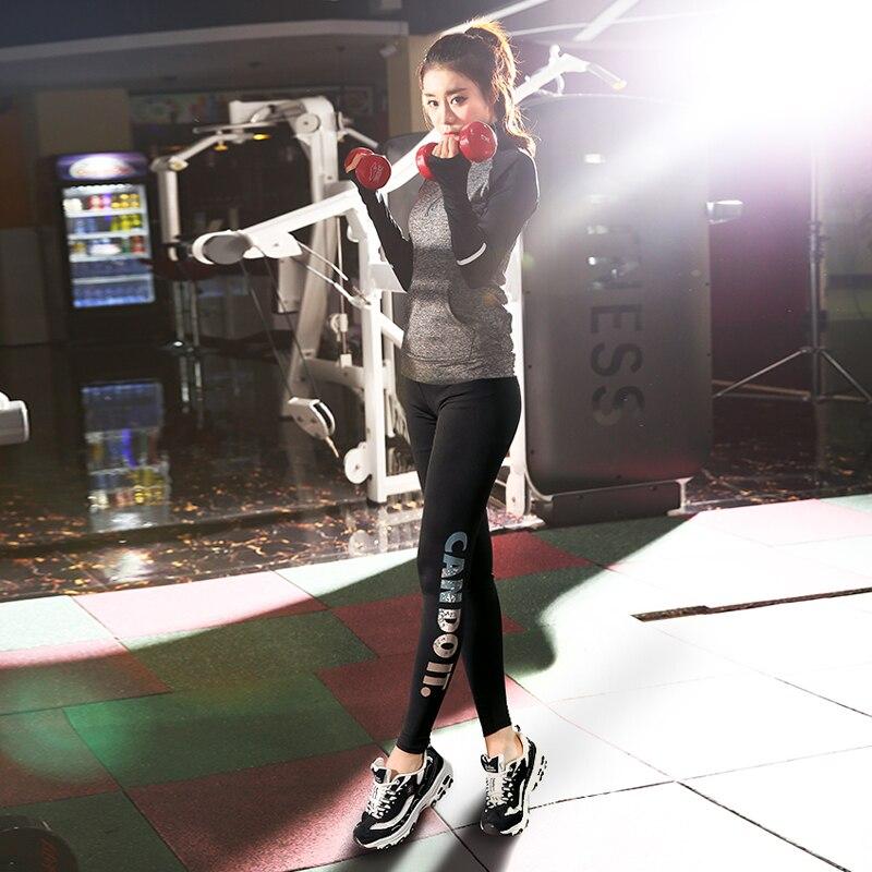 Più il Formato L 4XL Donne Runing Yoga set Maniche Lunghe Stand Up Collar + Lettera di Sport leggings Palestra Sport Esercizio Bodybuilding ragazza - 6