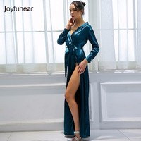 Joyfunear Off Shoulder Casual Long Dresses For Woman 2018 Long Sleeve Split Dress Autumn Dress Vintage Satin V Neck Dress