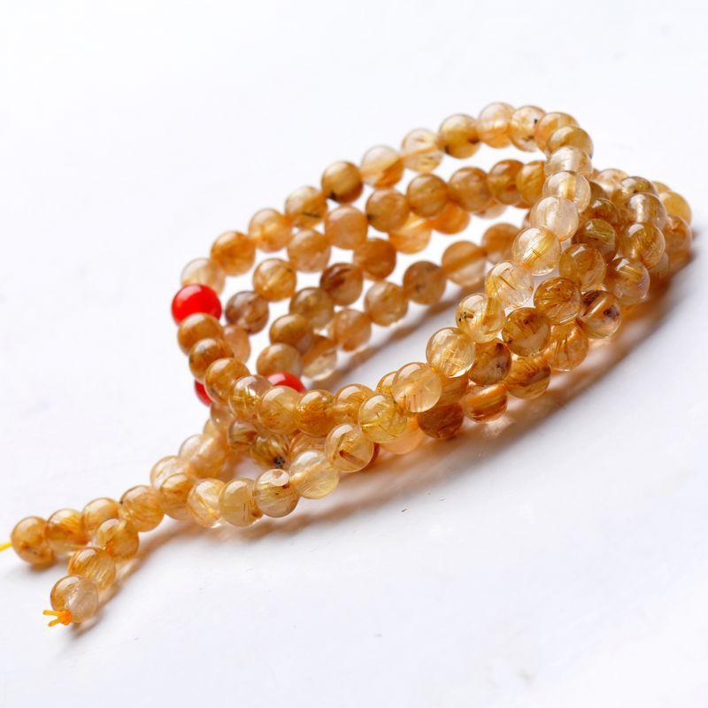 Натуральный блонд, титановый браслет с кристаллами, 108 бусин, 6 мм, золотой кварц, Рутиловый браслет, ювелирные изделия, аксессуары