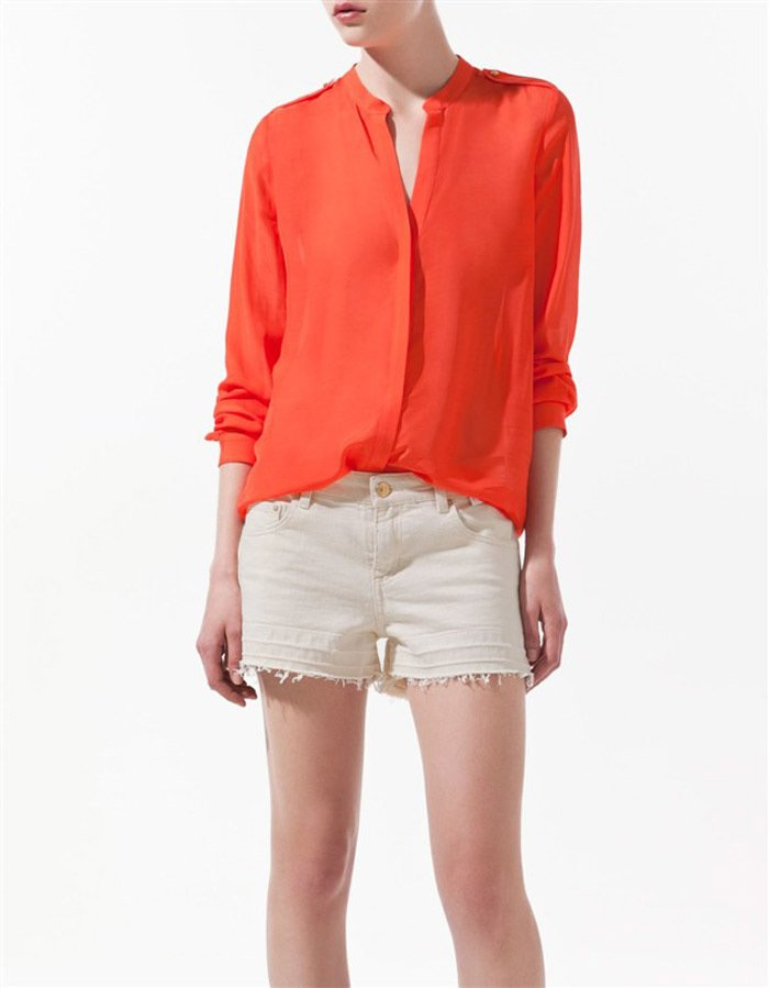 Solid Color Shirts Long Sleeve Mandarin Collar Cotton