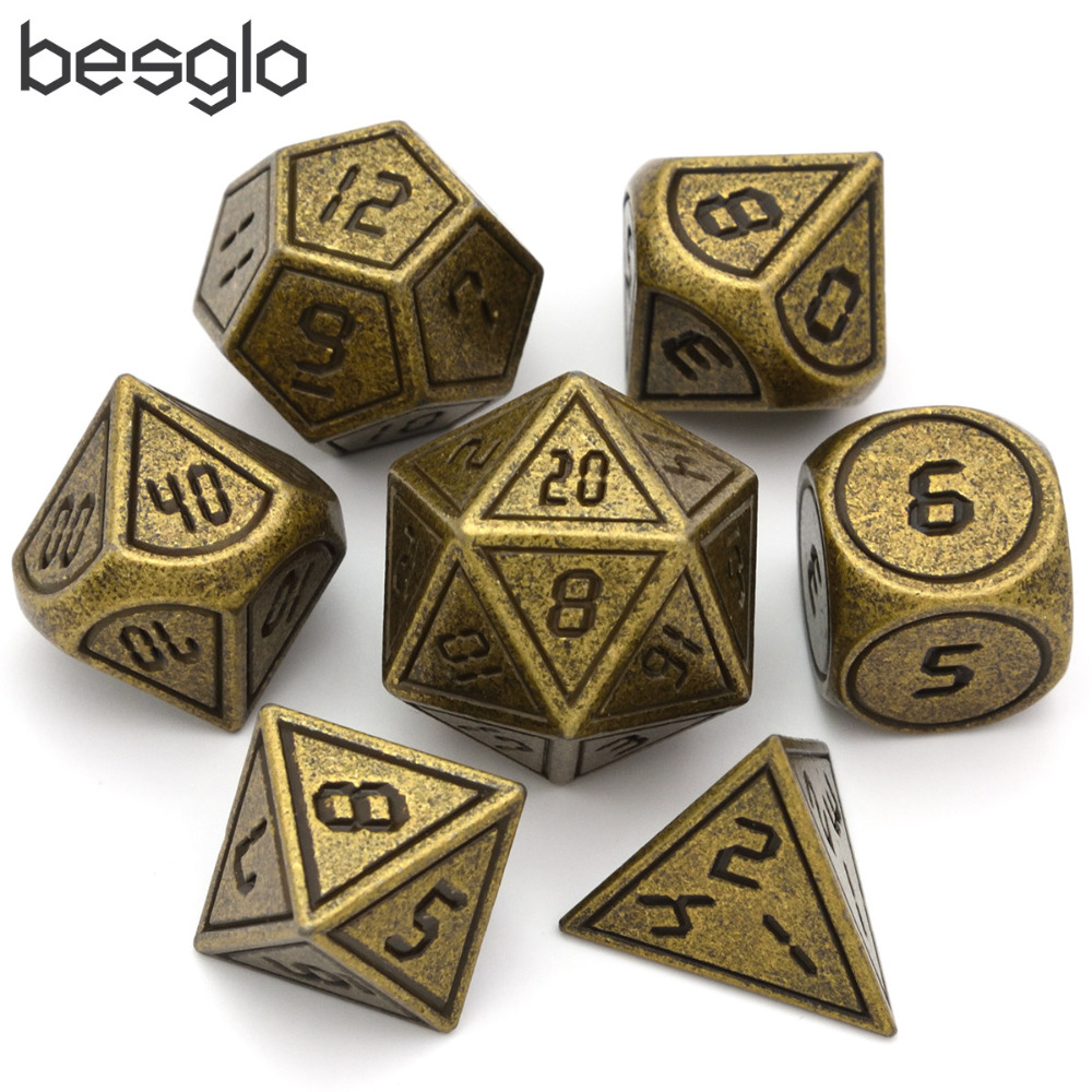 Heavy Polyhedral Metal Dice Set With Black Velvet Pouc  7-die Metal Dice For RPG,Dungeons And Dragons Pathfinder Shadowrun RPG