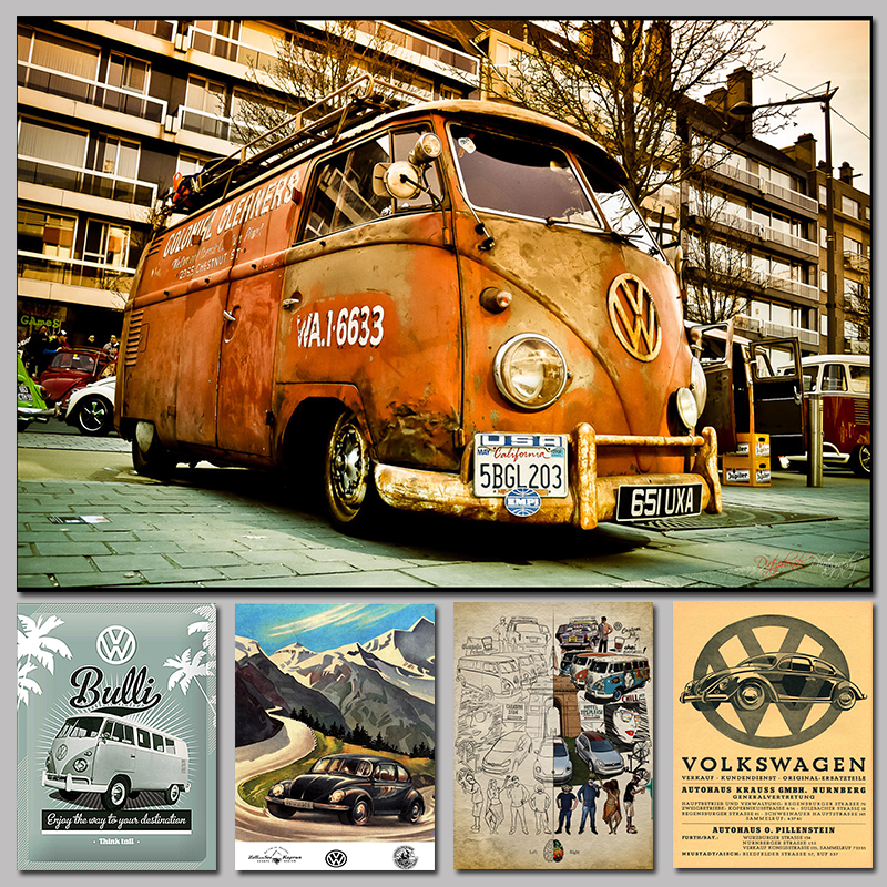 √Wall Decals Vinilos Stickers Vintage Signs Vw Bus Retro Painting ...