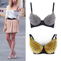 SAF-Women Sexy Golden Tone Metallic Punk Spike Gather Rivet Bra