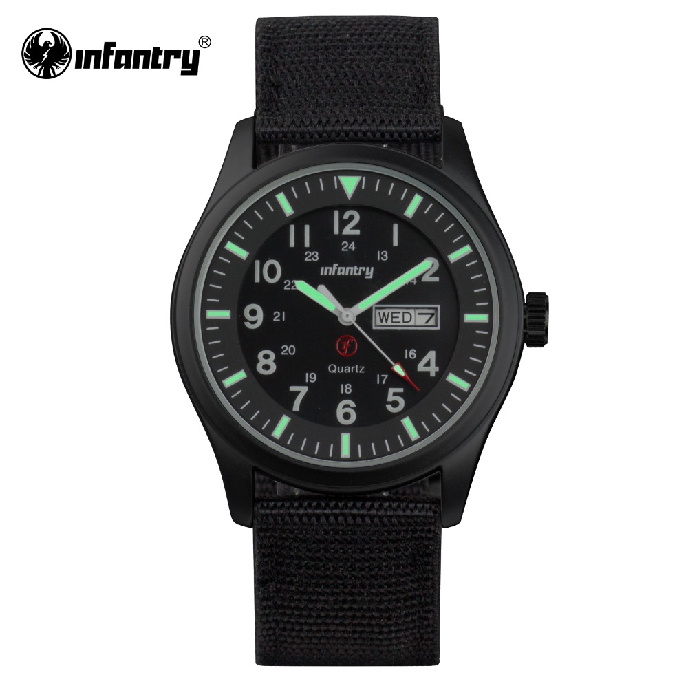 INFANTRY Mens Quartz Wristwatch Military Luminous Black Watch Auto Date Sports Army Men Watches Hot Sale Durable Nylon 2017 hot sale brand military watch date display mens watches full steel watches men s sports army quartz watch free shipping 029b