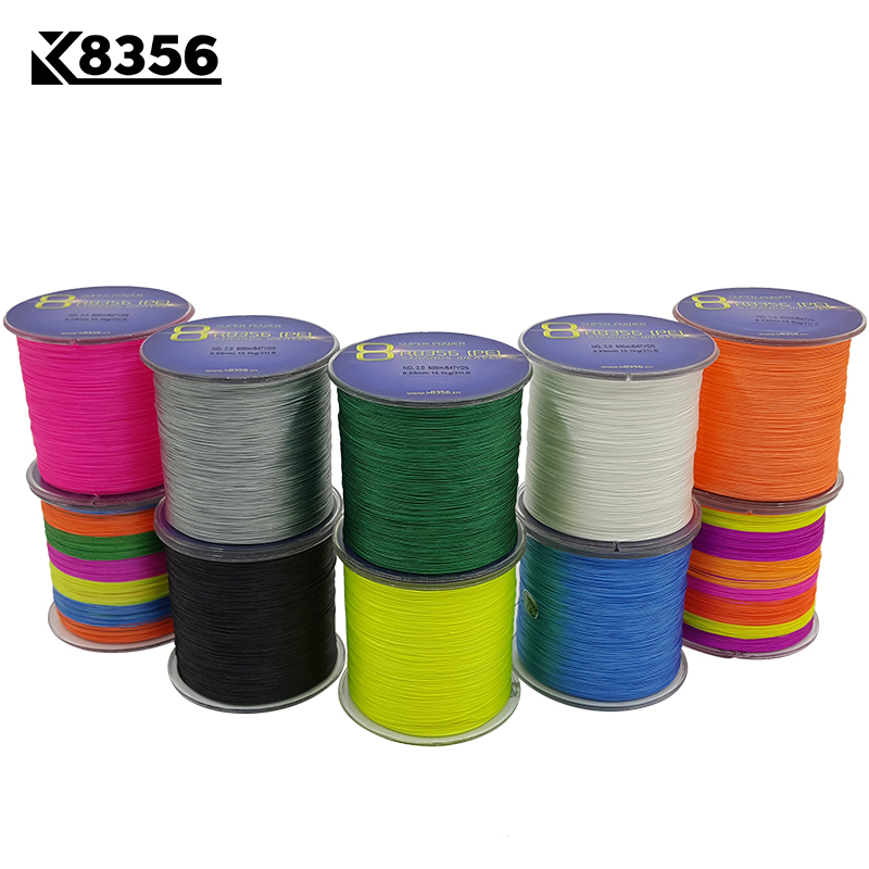 K8356 500M/547Yards 8 Stands PE Line Braided Fishing Line 100% PE Multifilament Fishing Line Super Strong High Quality 13-200LB