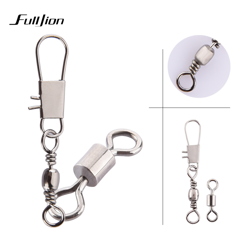 Fulljion 50pcs lot Connectors Fishing Rods Hooks Lures Tackle Box Interlock Snap Ball Bearing Swivel Rolling Solid Rings
