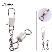 Fulljion 50pcs/lot Connectors Fishing Rods Hooks Lures Tackle Box Interlock Snap Ball Bearing Swivel Rolling Solid Rings