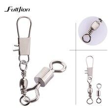 Fulljion 50pcs/lot Connectors Fishing Rods Hooks Lures Tackle Box Interlock Snap Ball Bearing Swivel Rolling Solid Rings