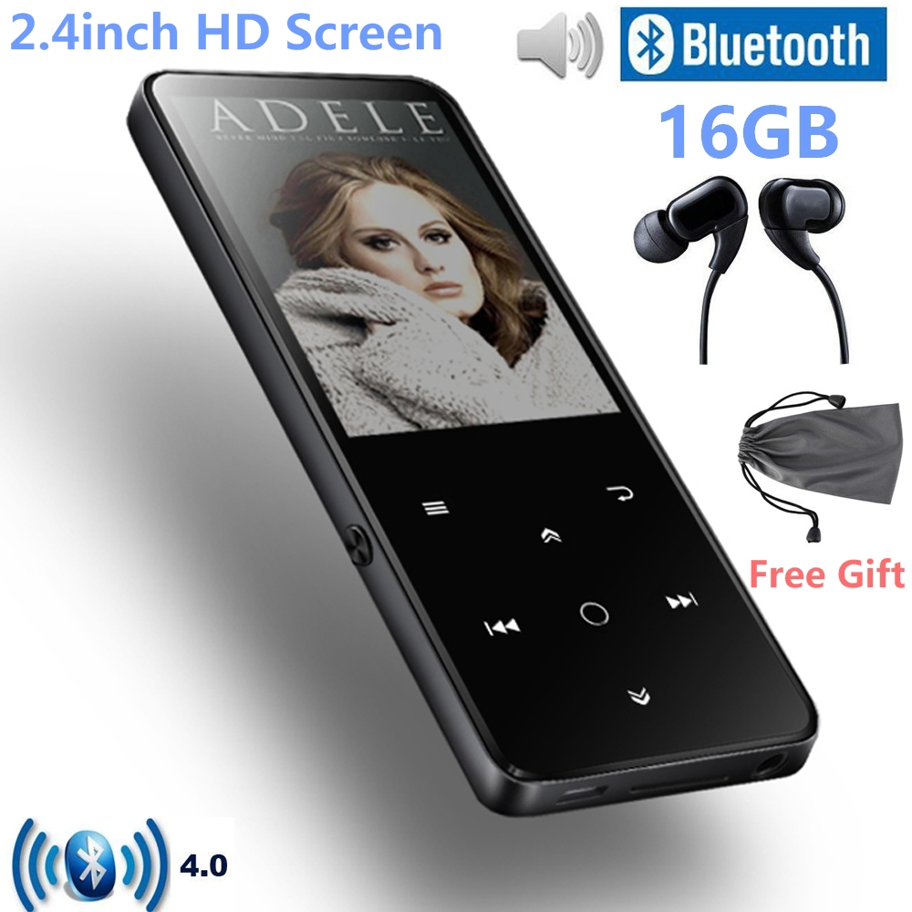цена на Bluetooth 4.0 MP3 Music Player Built-in Speaker 16G Touch Key 2.4 Inch TFT Color Screen FM/ Voice Recorder Lossless Sound Player