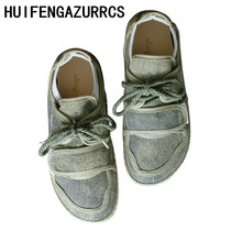 HUIFENGAZURRCS-Leisure Canvas Shoes,Hand Women's Shoes with Soft Bottom, Retro Round Head and Low Uppers Single Shoes,4 clors