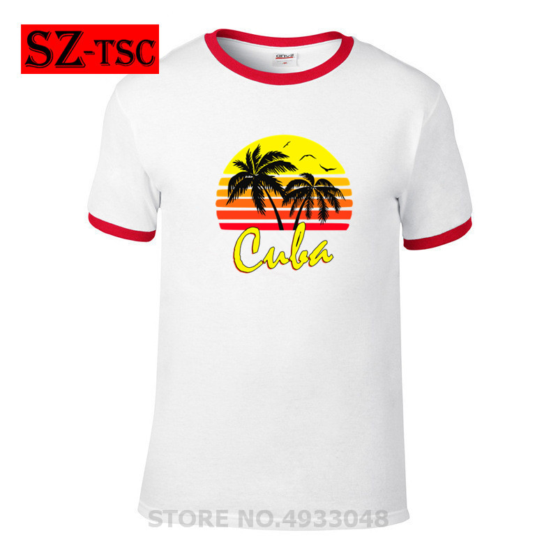 Funny Letters CUBA T-Shirt - Sunset Palm Tree - Outrun Synthwave New Retro Wave Cartoon t shirt men Unisex New Fashion tshirt Рубашка поло