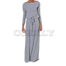 Autumn Women Long Maxi Dress CUERLY Neck Sashes summer Dresses Casual Sleeve Solid Plus Size GV028