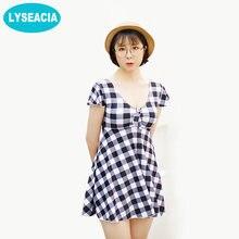 dcd4d92e493 LYSEACIA Plaid One Piece Swimsuit Female Beach V Neck Swim Dresses Retro Big  Women Plus Size Swimwear Soft Bra Pads Bathing Suit