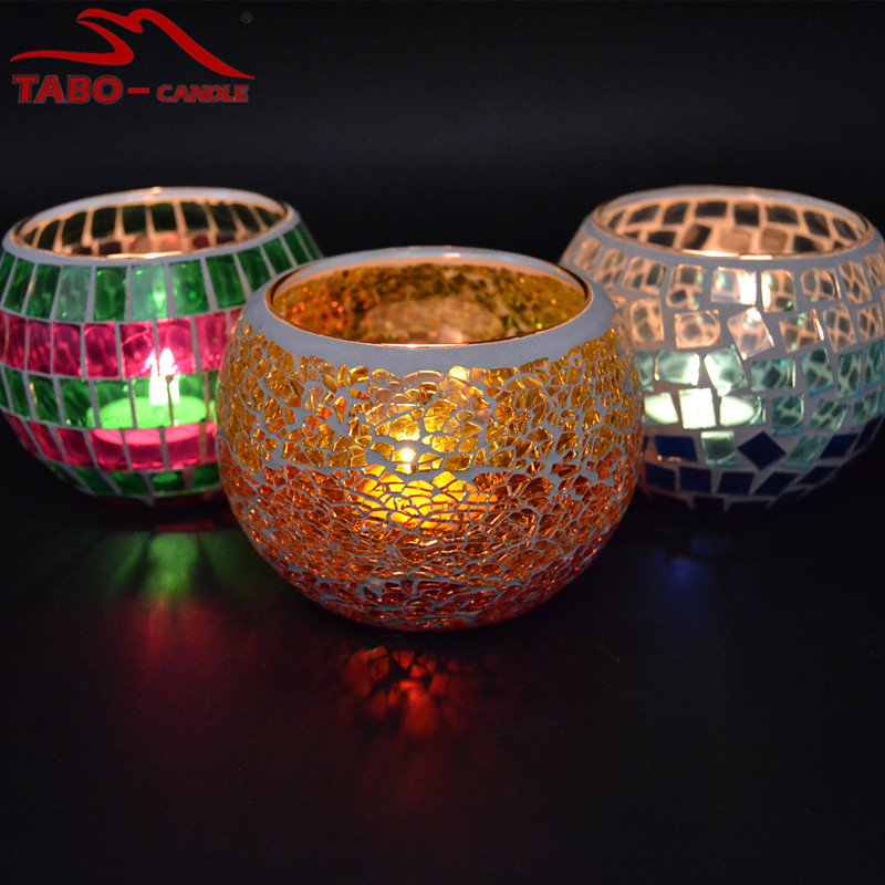 Home Decor Candle Holder Mosaic Glass 3 Inches Orange Color Stained Glass Votive Tea Light Candle