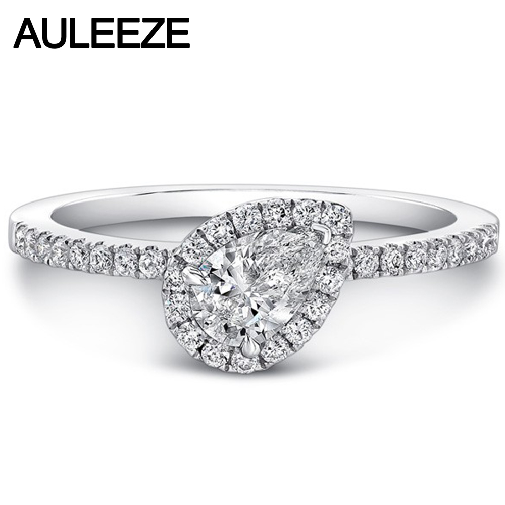 Fine Jewelry Unique Forever Brilliant Engagement Ring 14K White Gold 1CT Pear Cut Moissanites Halo Wedding Ring Christmas Gifts