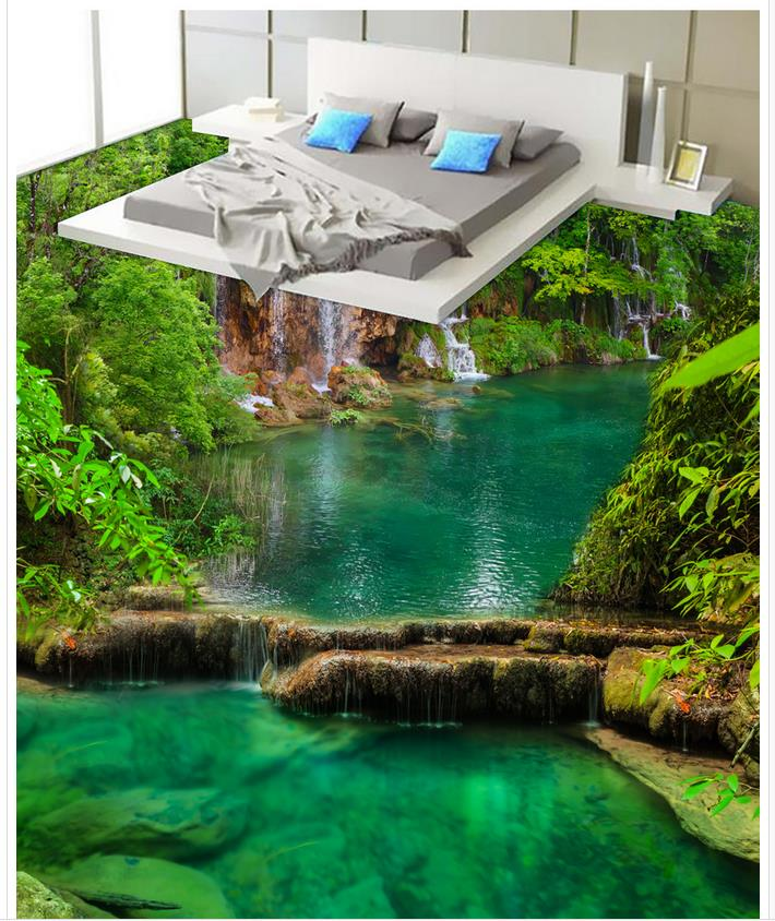 3d wall murals wallpaper floor river bathroom bedroom 3d for Bathroom floor mural sky