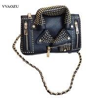 Funny Creative Women Shoulder Vintage Bag 3D Rivet Biker Jacket PU Chain Handbags Cloth Style Messenger
