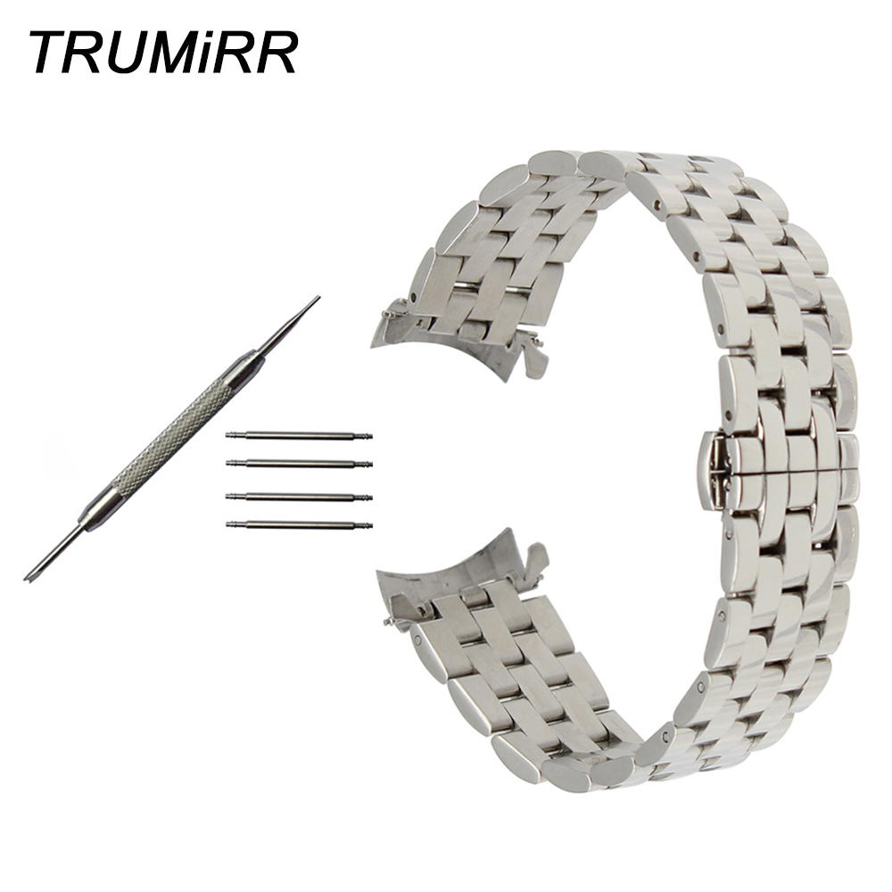 Curved End Stainless Steel Watchband 18mm 20mm 22mm for Seiko Men Women Watch Band Butterfly Buckle Strap Wrist Belt Bracelet stainless steel watch band 18mm 20mm 22mm for fossil curved end strap butterfly buckle belt wrist bracelet black gold silver
