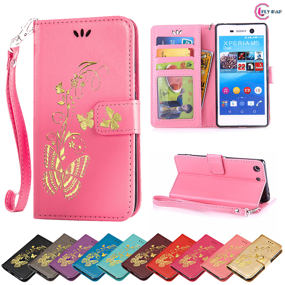 Flip Case for Sony Xperia M5 E5633 E5603 Butterfly Case Wallet photo frame Phone Leather Cover for Sony Xperia M 5 E 5633 5603