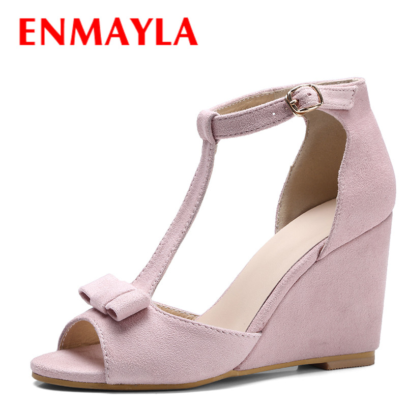 ENMAYLA Wedge Flock T-strap Sandals Women High Heels Pumps Bowknot Open Toe Shoes Woman Solid Color Dress Shoes Ladies Sandals  enmayla flowers wedges heels platform sandals women open toe high heels shoes woman solid color ladies sandals female shoes