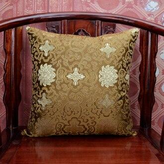 Этнические квадратные шелковые атласная наволочка 45x45 Рождественские декоративные Чехлы для дивана китайские подушки - Цвет: Коричневый