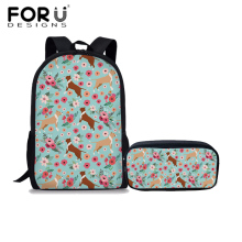 FORUDESIGNS 2Pcs/set Children School Bags Pit Bull Dog Printing School Backpack for Girls Preppy Style Book Bag Kid Shoulder Bag prison pit book two