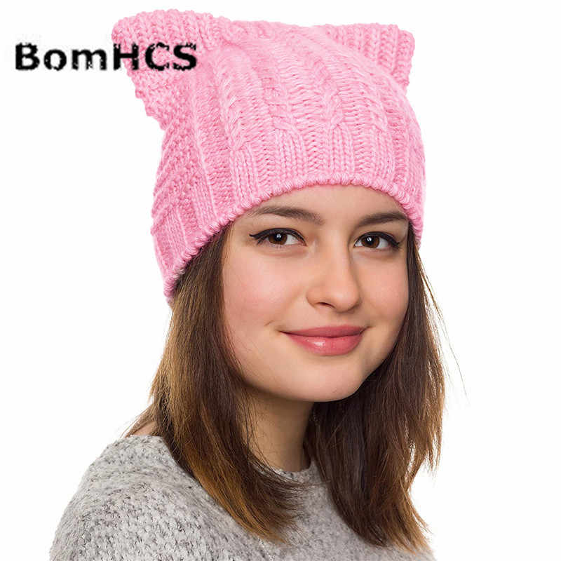 4d937c45f4b768 ... BomHCS Handmade Knitted Pussy Cat Hat Cats Ears Beanie Women Girls  Winter Thick Warm Caps