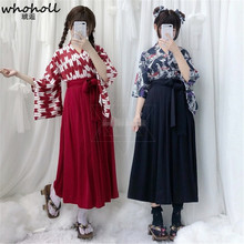 WHOHOLL Japanese Kimono Cosplay Costume for Women Kimono Cosplay Clothing Featival Shrine Witch Set Costumes Anime Cosplay