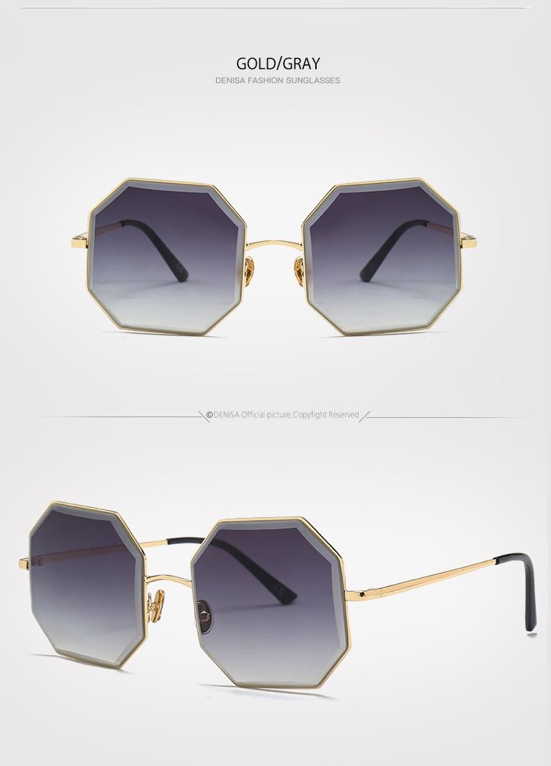 dd3412080d DENISA Brand Vintage Octagon Sunglasses Men Women Red Glasses Retro ...