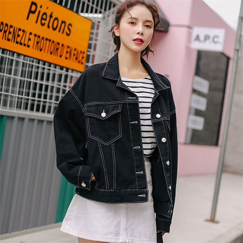 HziriP 2019 Fashion Loose Casual Stylish Denim   Basic   Outerwear Black   Jackets   New Autumn Vintage Jeans All-Match Cardigans Coat