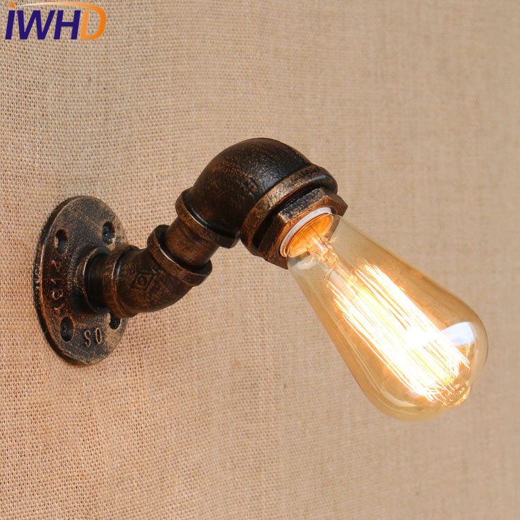 IWHD Loft Style Water Pipe Lamp Industrial Edison Wall Sconce Iron Vintage Wall Light Fixtures Home Lighting Antique Lamps