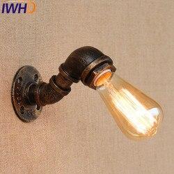 IWHD stylu Loft wodociąg lampy przemysłowe Edison kinkiet ścienny żelaza rocznika ścianie oprawy oświetleniowe oświetlenie domu antyczny u nas państwo lampy edison wall sconce pipe lampwall sconce -