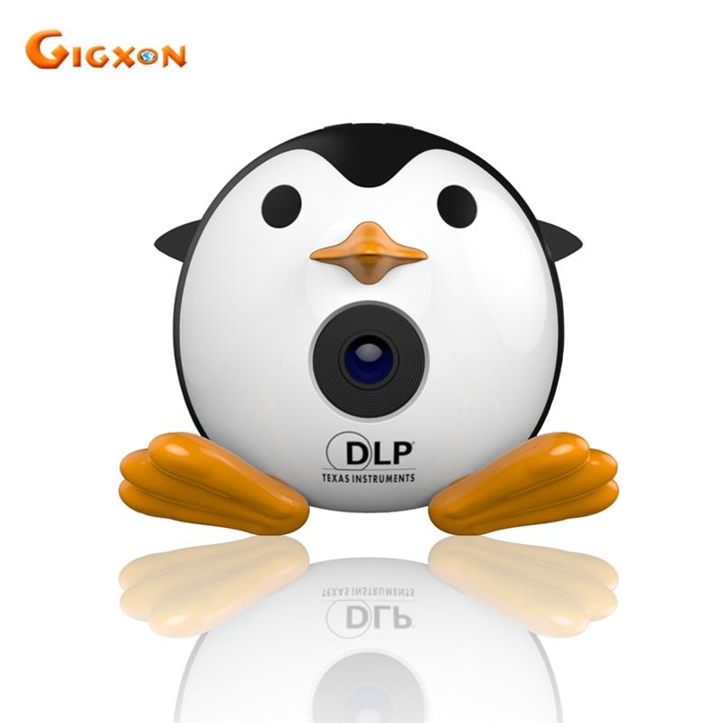 Gigxon Q1 2017 mignon pingouin micro DLP projecteur 40 lumens prise en charge full HD 1080 P TF/USB/HDMI/AV usage domestique 15 W
