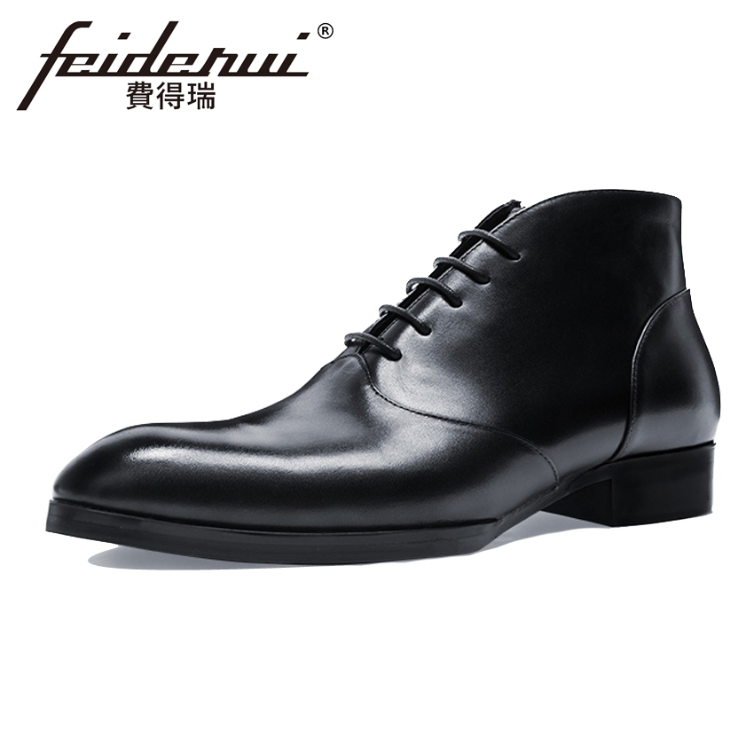 New Arrival Genuine Leather Handmade Men's Outdoor Ankle Boots Elegant Round Toe Lace up High-Top Man Cowboy Martin Shoes HQS246