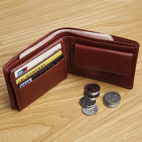LANSPACE leather men's wallet slim short coin purses holders Italy leather