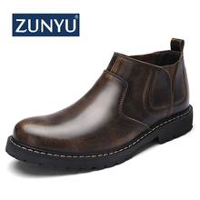 ZUNYU 2019 Nieuwe Lederen Mannen Laarzen Lente Enkellaarsjes Fashion Footwear Slip-On Schoenen Mannen Business Casual Hoge top Mannen Schoen(China)