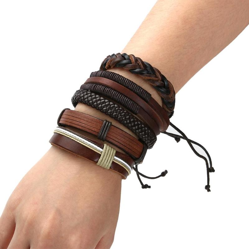 Brown Leather Weave Bracelet Bangle Multi-layer Bracelet Male Punk Leather Wristband Casual Braided Jewelry Cool Street Style