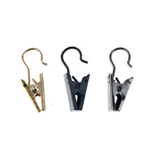 10PCS Lot Sliver And Black Stainless Steel Drape Clips Curtain Rod Hook Accessories