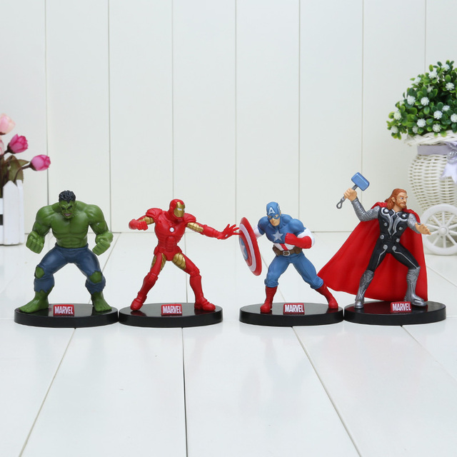 6pcs/set 8-10cm Super Hero The Avengers action figure Toys Spiderman Captain America Hulk thor toy