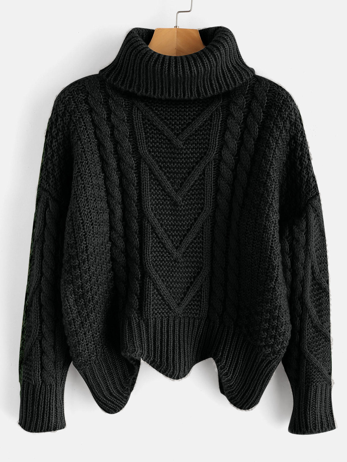 ZAFUL Turtleneck Cable Knit Pullover Sweater Plain Zigzag Hem Loose Type Sweater Casual Women Drop Shoulder Nonelastic Sweater